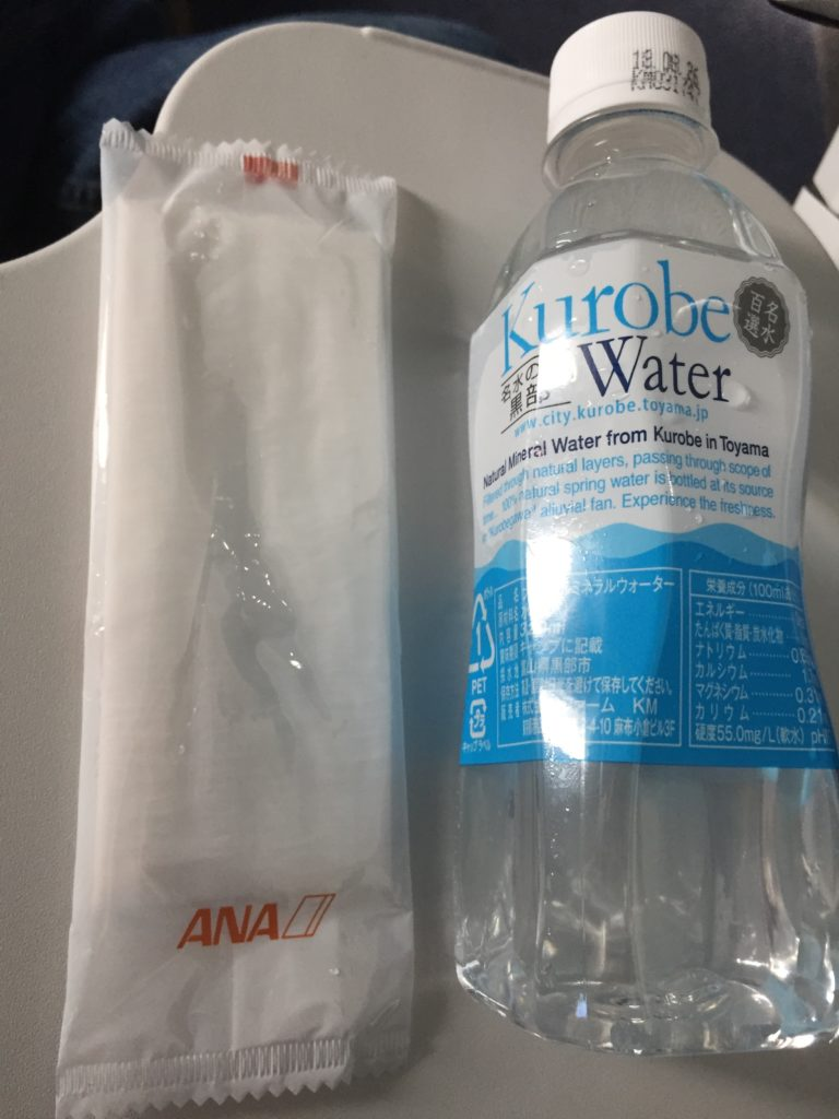 ANA Wet Towel and Water