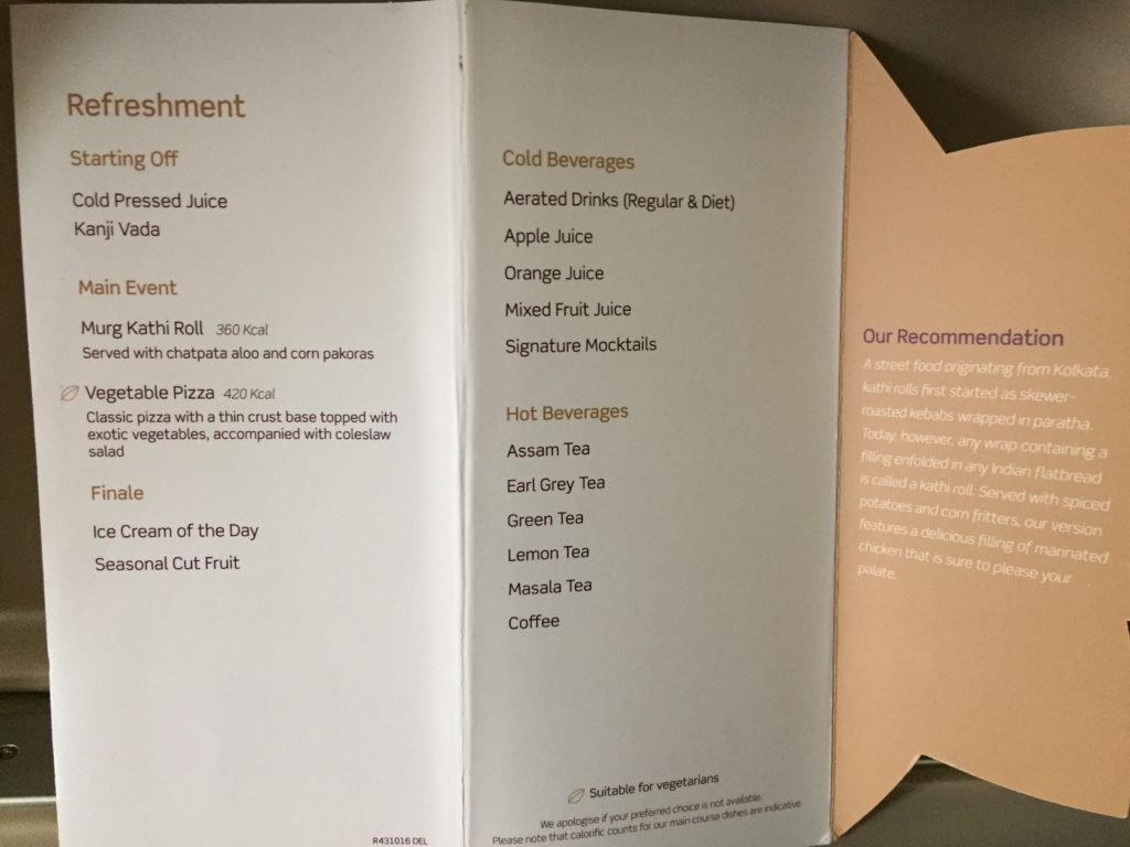 Vistara Business Class Menu